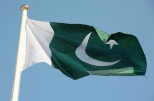 The Pakistani flag flys high in the sky