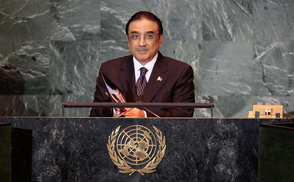 President of the Islamic Republic of Pakistan Asif Ali Zardari addressing the United Nations